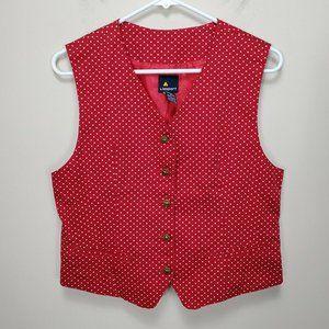 Vintage LIZ SPORT Ladies RED white Star Vest Size 4 Button Front back tightener